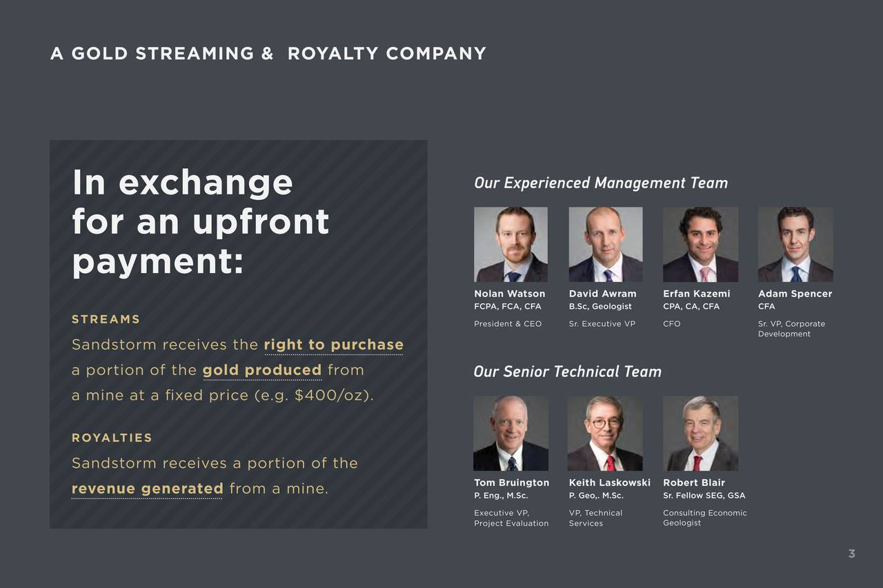 In exchange Our Experienced Management Team for an upfront payment: Nolan Watson David Awram Erfan Kazemi Adam Spencer FCPA, FCA, CFA B.Sc, GeologistPA, CA, CFA CFA STREAMS President & CEOSr. Executive CFO Sr. VP, Corporate Development Sandstorm receives the right to purchase a portion of the gold produced from Our Senior Technical Team a mine at a xed price (e.g. $400/oz). ROYALTIES Sandstorm receives a portion of the Tom Bruington Keith LaskowskRobert Blair revenue generated from a mine. P. Eng., M.Sc. P. Geo,. M.Sc.Sr. Fellow SEG, GSA Executive VP, VP, Technical Consulting Economic Project EvaluatServices Geologist 3