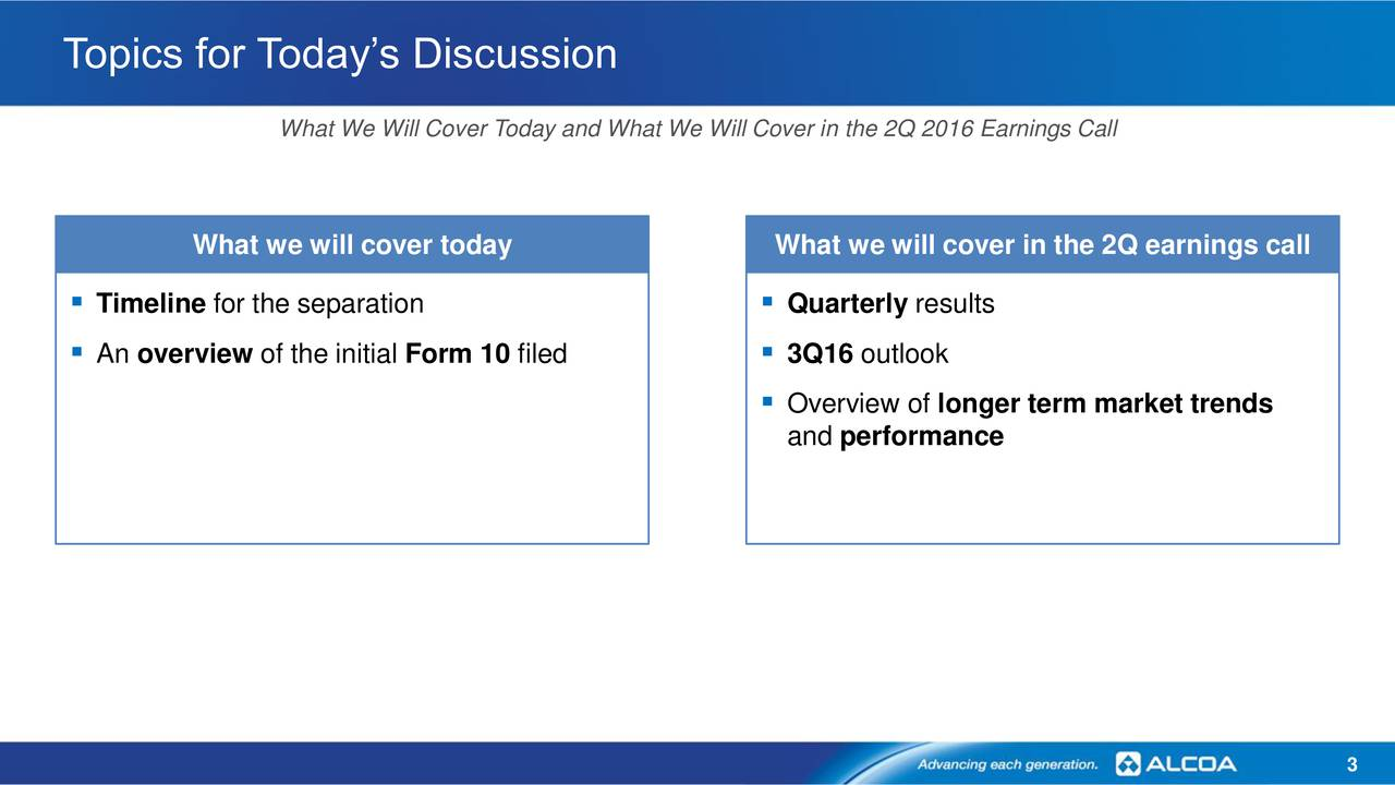 What We Will Cover Today and What We Will Cover in the 2Q 2016 Earnings Call What we will cover today What we will cover in the 2Q earnings call Timeline for the separation  Quarterly results An overview of the initial Form 10 filed  3Q16 outlook Overview of longer term market trends and performance