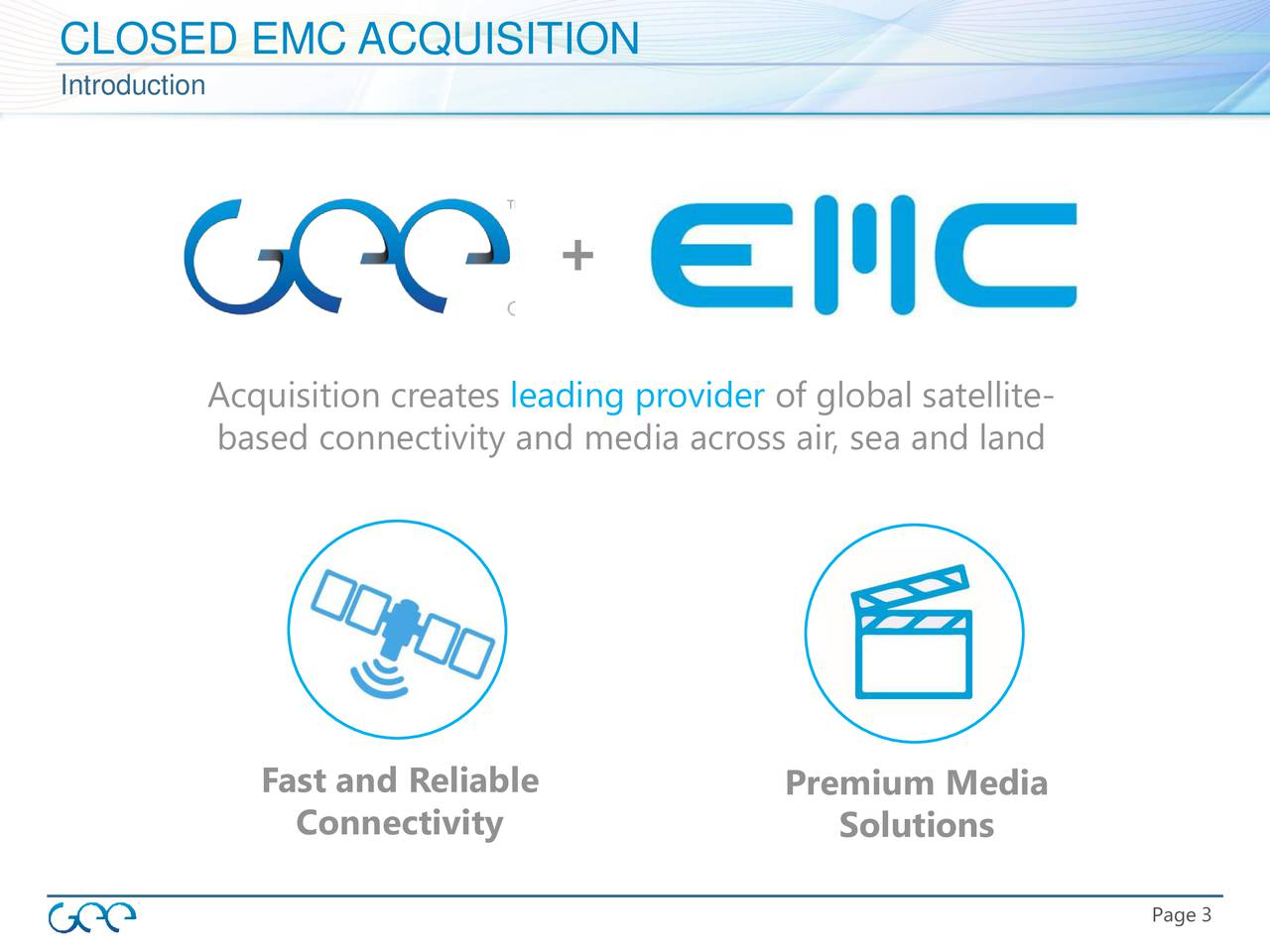 Introduction + Acquisition creates leading provider of global satellite- based connectivity and media across air, sea and land Fast and Reliable Premium Media Connectivity Solutions Page 33