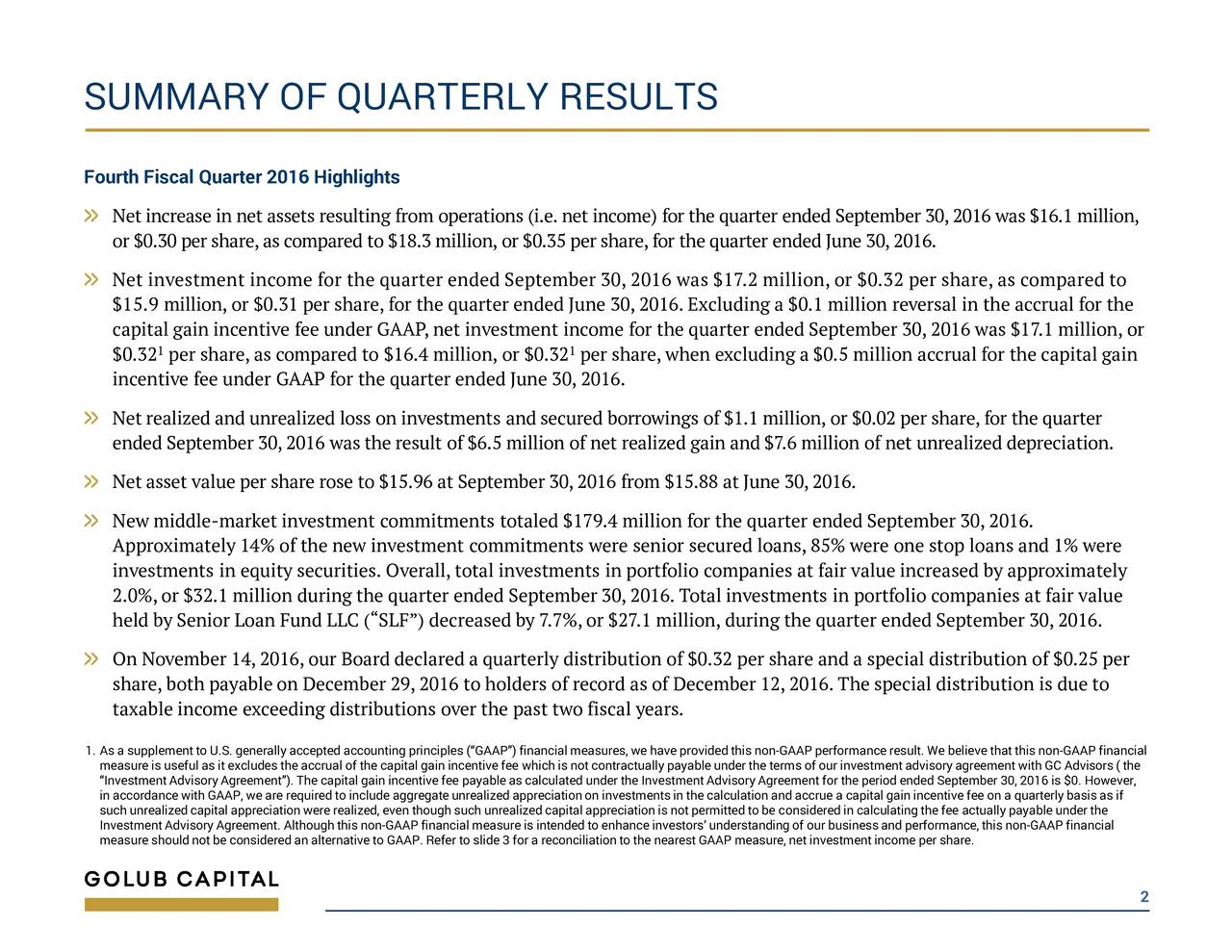 Fourth Fiscal Quarter 2016 Highlights Net increase in net assets resulting from operations (i.e. net income) for the quarter ended September 30,2016 was $16.1 limni,l or $0.30 per share,as compared to $18.3 million, or $0.35 per share,for the quarter ended June 30,2016. Net investment income for the quarter ended September 30, 2016 was $17.2 million,or $0.32 per share,as compared to $15.9 million,or $0.31 per share, for the quarter ended June 30, 2016. Excluding a $0.1 million reversal in the accrual for the capital gain incentive fee under GAAP, net investment income for the quarter ended September 30, 2016 was $17.1 million, or $0.321 per share,as compared to $16.4 million, or $0.32 per share, when excluding a $0.5million accrual for the capital gain incentive fee under GAAP for the quarter ended June 30, 2016. Net realized and unrealized loss on investments and secured borrowings of $1.1 million, or $0.02 per share, for the quarter ended September 30, 2016 was the result of $6.5 million of ner tealizedgain and $7.6 million of net unrealized depreciation. Net asset value per share rose to $15.96 at September 30, 2016 from $15.88 at June 30, 2016. New middle-market investment commitments totaled $179.4 million for the quarter ended September 30, 2016. Approximately 14% of the new investment commitments were senior secured loans, 85% were one stop loans and 1% were investments in equity securities. Overall, total investments in portfolio companies at fair value increased by approximately 2.0%,or $32.1 million during the quarter ended September 30,2016. Total investments in portfolio companies at fair value held by Senior Loan Fund LLC (SLF) decreased by 7.7%, or $27.1 million, during the quarter ended September 30, 2016. On November 14,2016, our Board declared a quarterly distribution of $0.32 per share and a special distribution of $0.25 per share, both payable on December 29, 2016 to holders of record as of December 12, 2016. The special distribution is due to taxable income exceeding distributionsover the past two fiscal years. 1. As a supplement to U.S. generally accepted accounting principles (GAAP) financial measures, we haveprovided this non-GAAP performance result. We believethat this non-GAAP financial measure is useful as it excludes the accrual of the capital gain incentive fee which is not contractually payable under the terms of our investment advisory agreement with GC Advisors ( the in accordance with GAAP,we are requiredto include aggregate unrealized appreciation on investments in the calculation and accrue a capital gain incentive fee on a quarterly basis as if such unrealized capital appreciation were realized, even though such unrealized capital appreciation is not permitted to be considered in calculating the fee actually payable under the Investment Advisory Agreement.Although this non-GAAP financial measure is intended to enhance investorsunderstanding of our business and performance, this non-GAAP financial measure should not be considered an alternative toGAAP. Refer to slide 3 for a reconciliation to the nearest GAAP measure, net investment income per share. 2