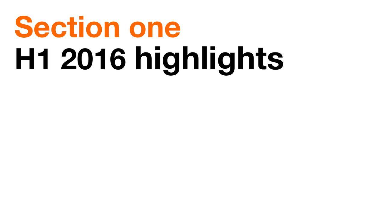 H1 2016 highlights