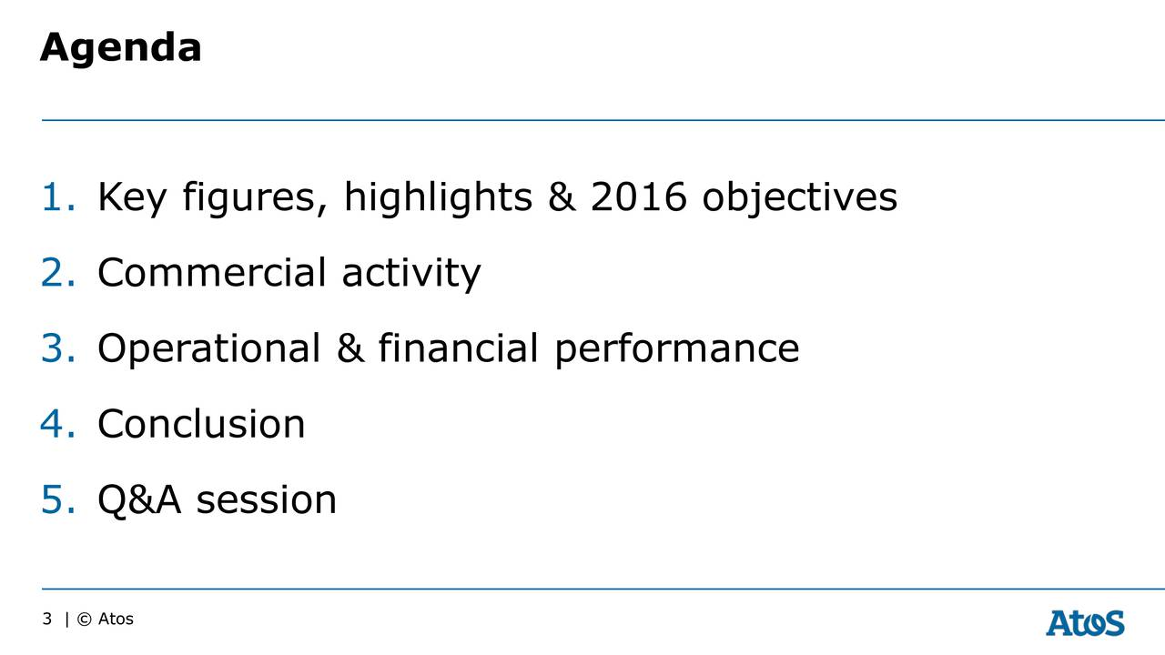 1. Key figures, highlights & 2016 objectives 2. Commercial activity 3. Operational & financial performance 4. Conclusion 5. Q&A session 3    Atos