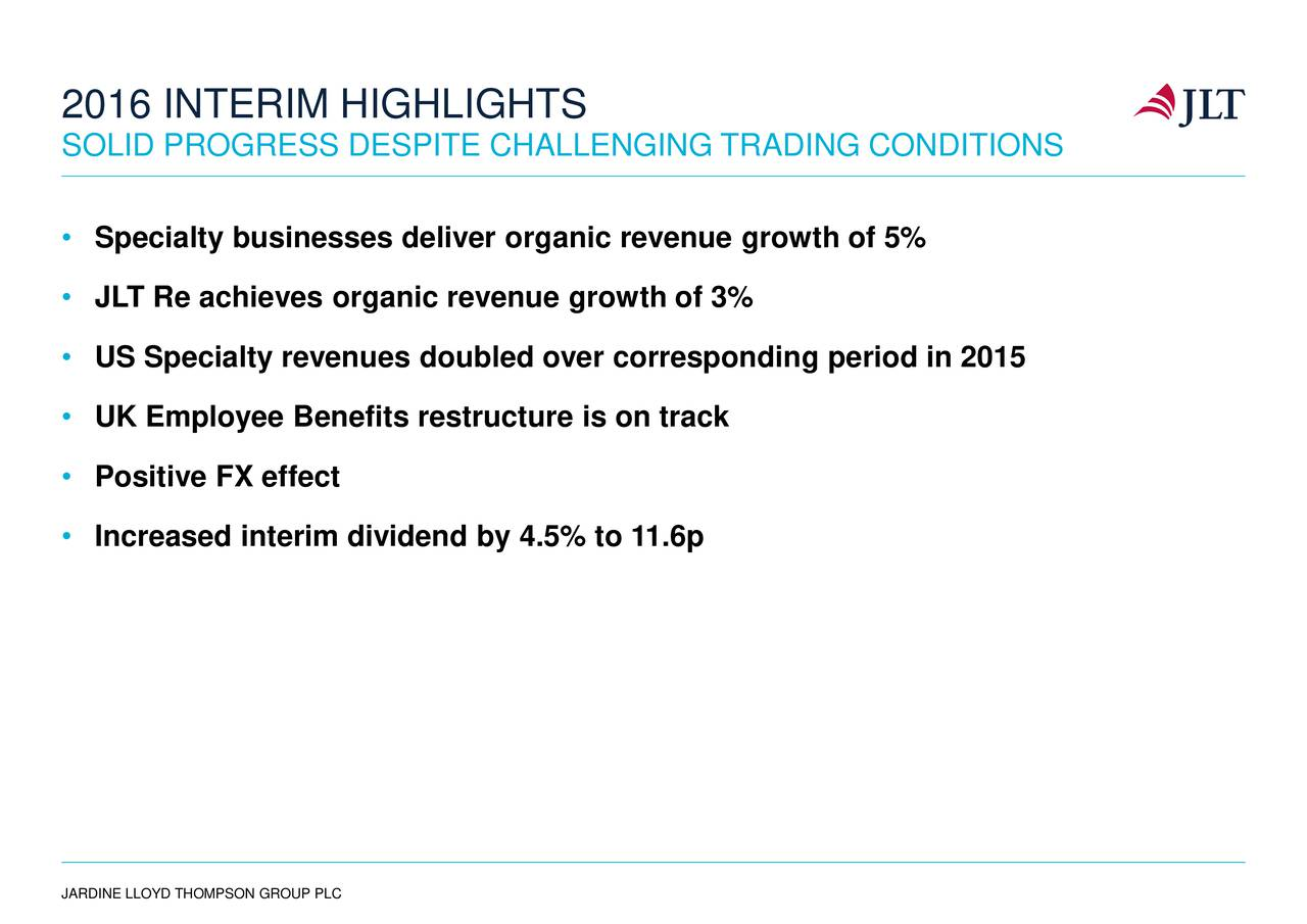 SOLID PROGRESS DESPITE CHALLENGING TRADING CONDITIONS Specialty businesses deliver organic revenue growth of 5% JLT Re achieves organic revenue growth of 3% US Specialty revenues doubled over corresponding period in 2015 UK Employee Benefits restructure is on track Positive FX effect Increased interim dividend by 4.5% to 11.6p JARDINE LLOYD THOMPSON GROUP PLC