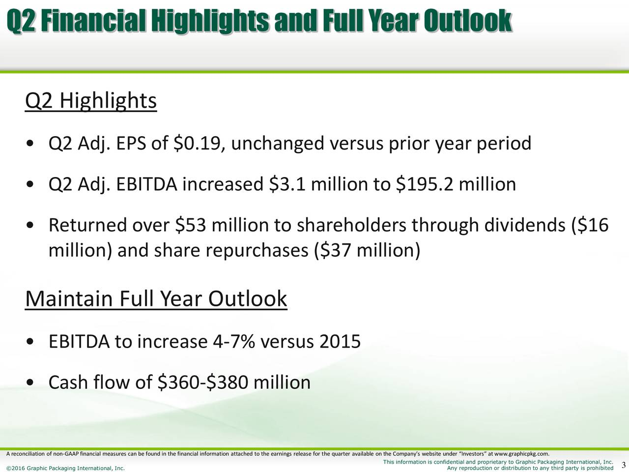 Q2 Highlights Q2 Adj. EPS of $0.19, unchanged versus prior year period Q2 Adj. EBITDA increased $3.1 million to $195.2 million Returned over $53 million to shareholders through dividends ($16 million) and share repurchases ($37 million) Maintain Full Year Outlook EBITDA to increase 4-7% versus 2015 Cash flow of $360-$380 million A reconciliation of non-GAAP financial measures can be found in the financial information attached to the earnings release for the quarter available on the Companys website under Investors at www.graphicpkg.com.