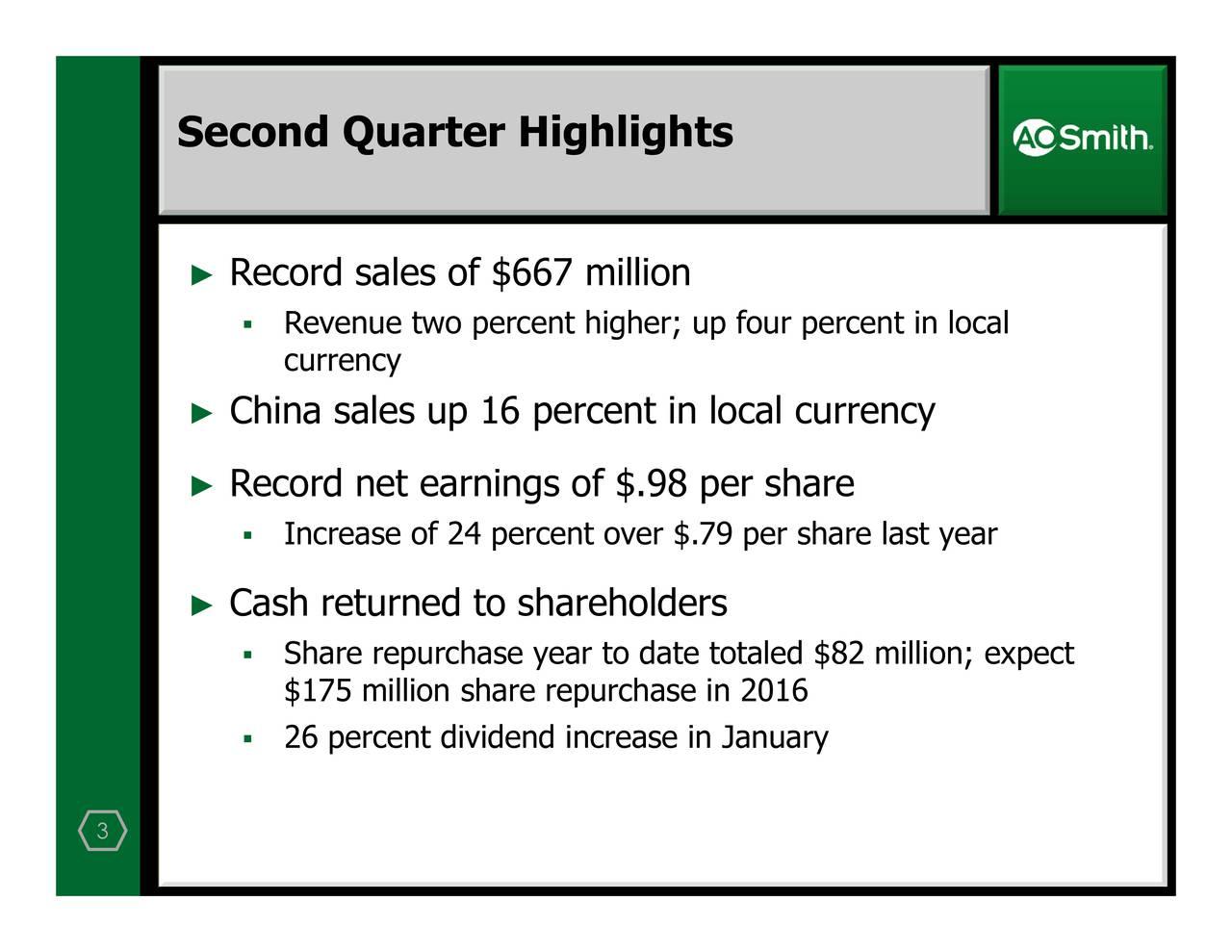 Record salesRa ofcord7naetllrnturngsdoto$sh8apehoslhar Second Quarter Highlights 3