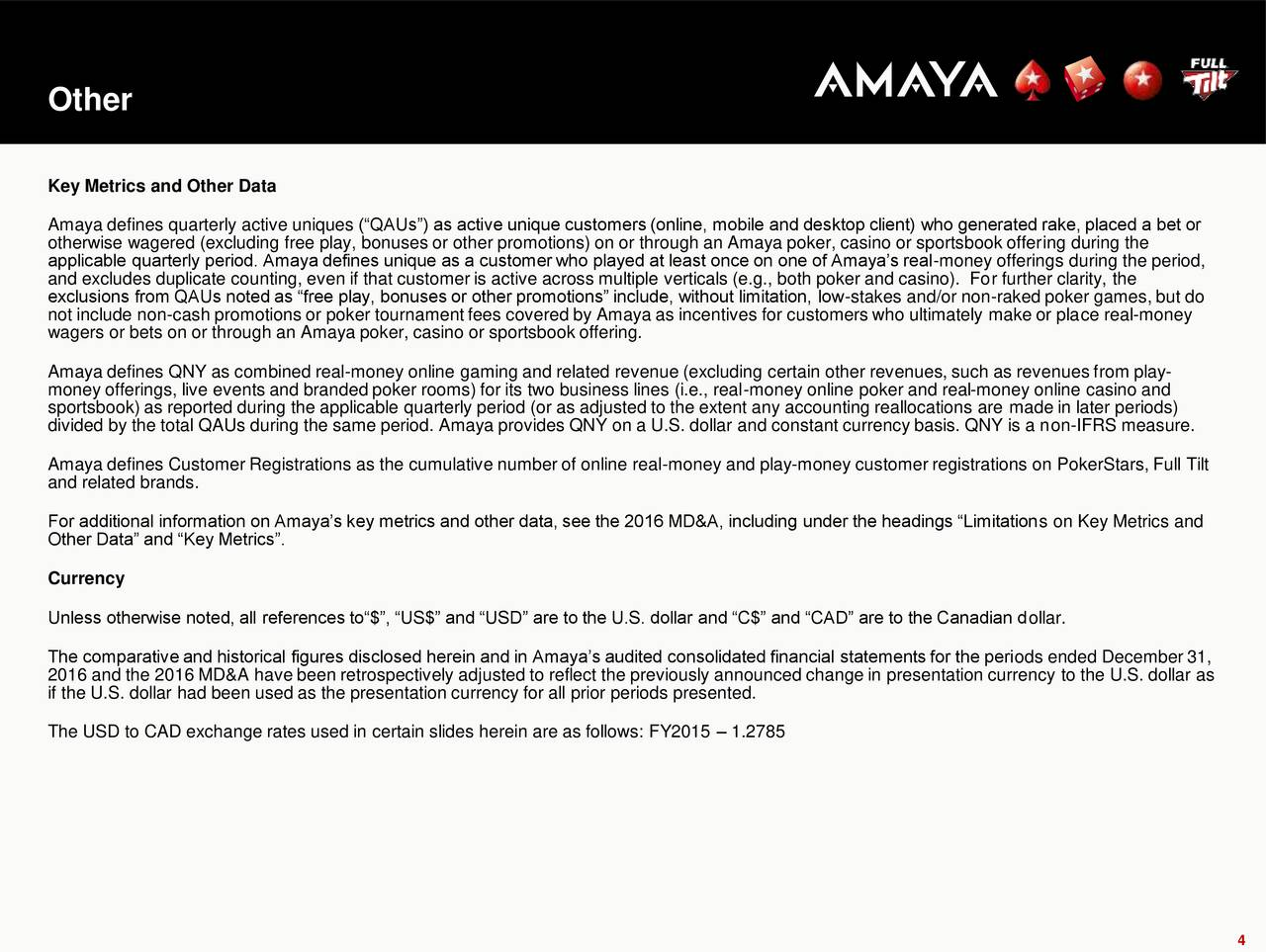 Amaya inc 2016 q4 results earnings call slides - Maryland live poker room phone number ...