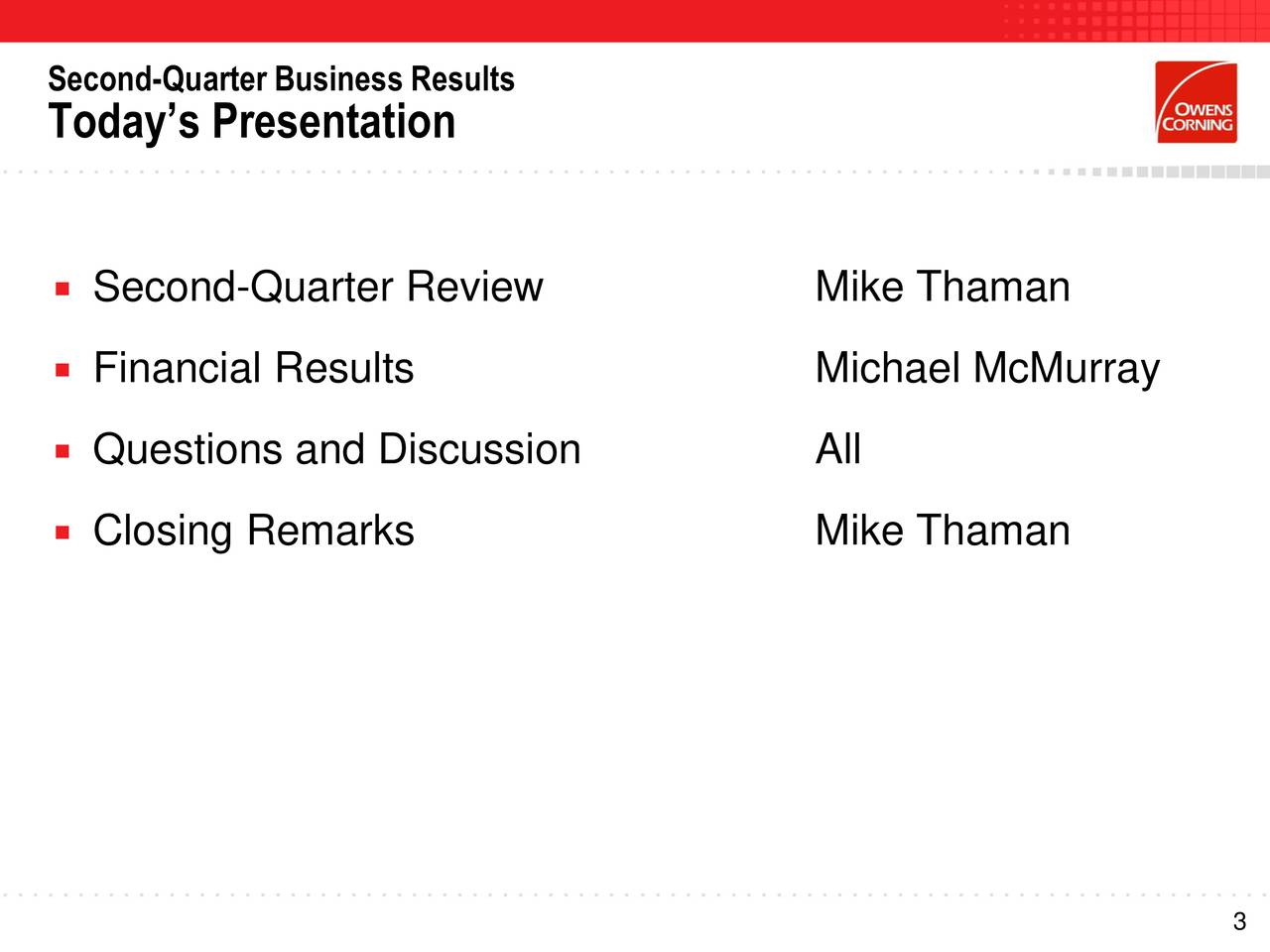 Todays Presentation Second-Quarter Review Mike Thaman Financial Results Michael McMurray Questions and Discussion All Closing Remarks Mike Thaman 3