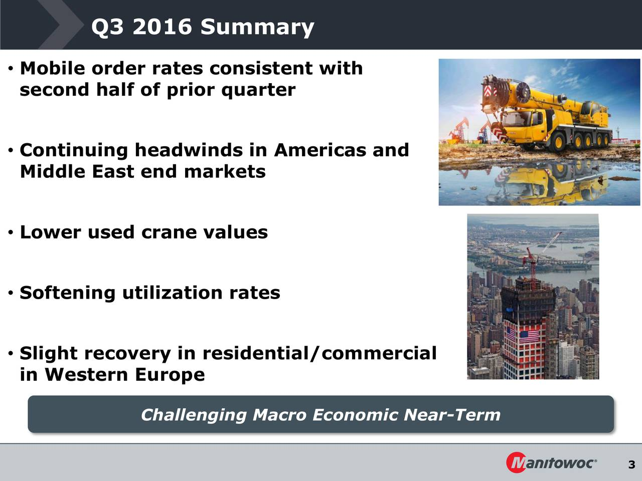Mobile order rates consistent with second half of prior quarter Continuing headwinds in Americas and Middle East end markets Lower used crane values Softening utilization rates Slight recovery in residential/commercial in Western Europe Challenging Macro Economic Near-Term 3