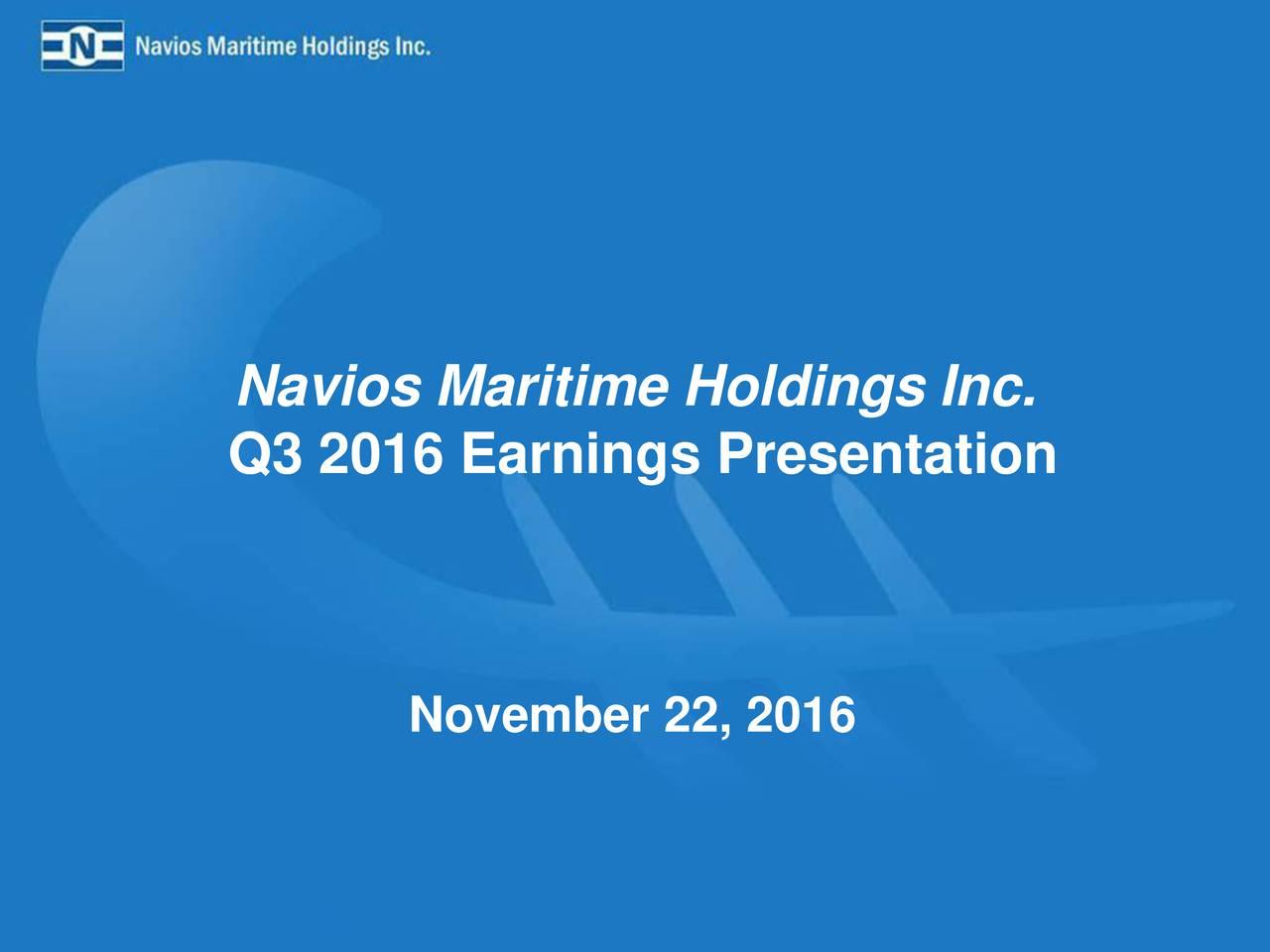 Q3 2016 Earnings Presentation November 22, 2016