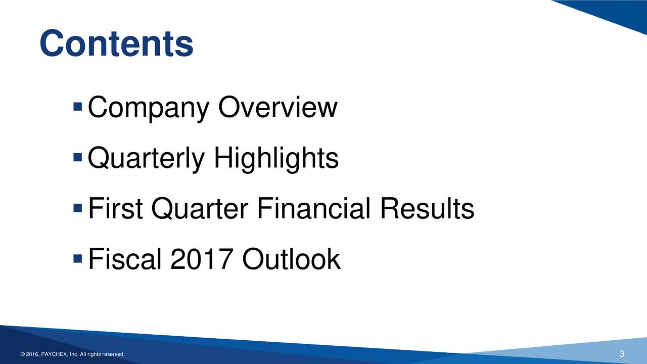 Company Overview Quarterly Highlights First Quarter Financial Results Fiscal 2017 Outlook