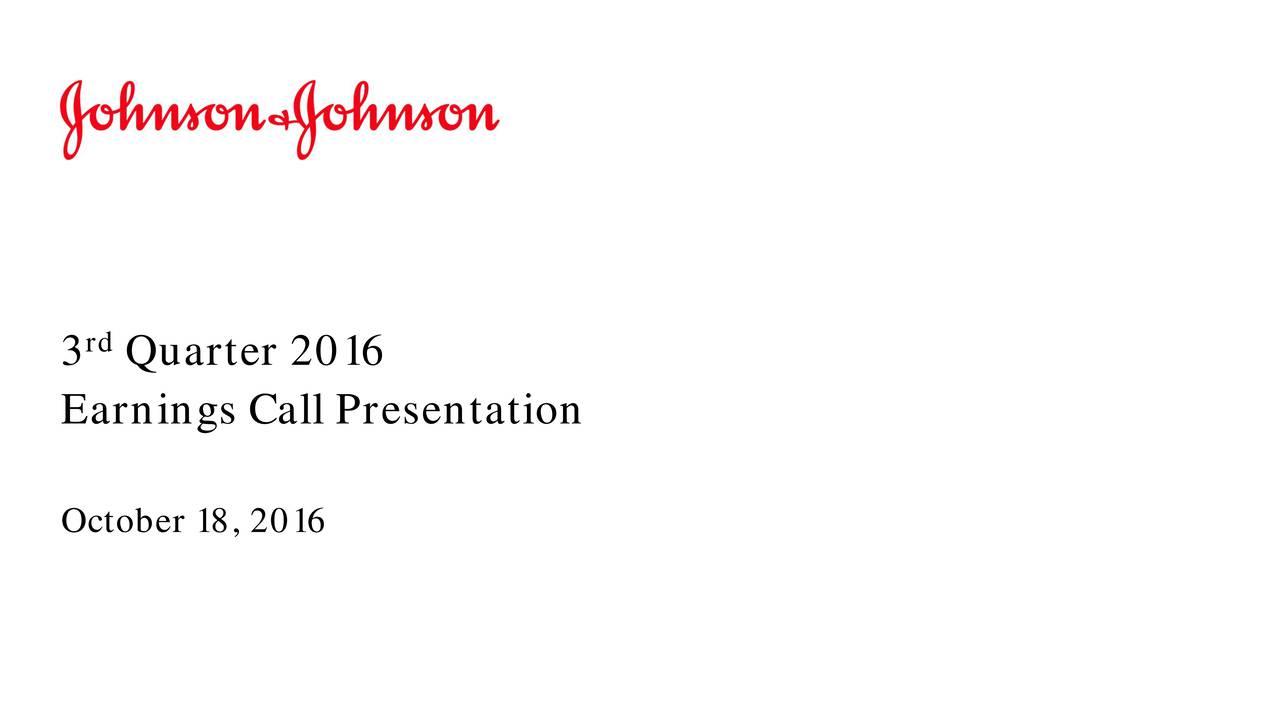 3 Quarter 2016 Earnings Call Presentation October 18, 2016