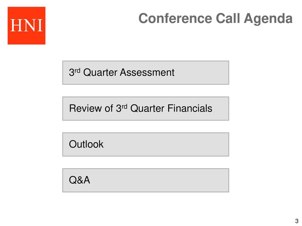3 Quarter Assessment Review of 3 Quarter Financials Outlook Q&A