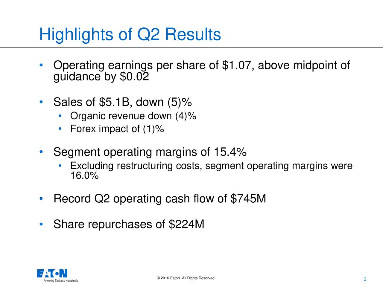 Operating earnings per share of $1.07, above midpoint of guidance by $0.02 Sales of $5.1B, down (5)% Organic revenue down (4)% Forex impact of (1)% Segment operating margins of 15.4% Excluding restructuring costs, segment operating margins were 16.0% Record Q2 operating cash flow of $745M Share repurchases of $224M 2016 Eaton. All Rights Reserved.. 3