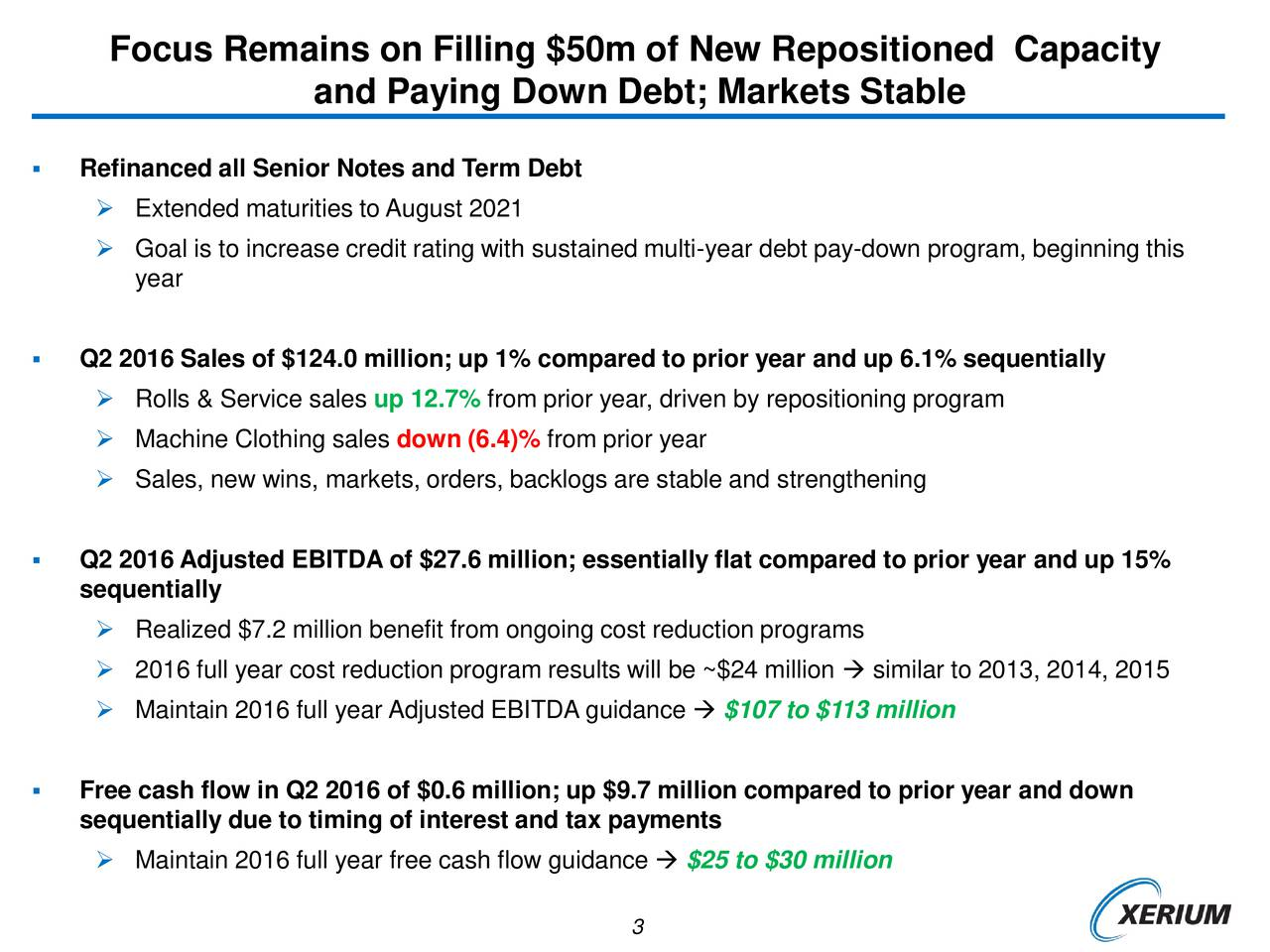 and Paying Down Debt; Markets Stable Refinanced all Senior Notes and Term Debt Extended maturities to August 2021 Goal is to increase credit rating with sustained multi-year debt pay-down program, beginning this year Q2 2016 Sales of $124.0 million; up 1% compared to prior year and up 6.1% sequentially Rolls & Service sales up 12.7% from prior year, driven by repositioning program Machine Clothing sales down (6.4)% from prior year Sales, new wins, markets, orders, backlogs are stable and strengthening Q2 2016 Adjusted EBITDA of $27.6 million; essentially flat compared to prior year and up 15% sequentially Realized $7.2 million benefit from ongoing cost reduction programs 2016 full year cost reduction program results will be ~$24 million  similar to 2013, 2014, 2015 Maintain 2016 full year Adjusted EBITDA guidance  $107 to $113 million Free cash flow in Q2 2016 of $0.6 million; up $9.7 million compared to prior year and down sequentially due to timing of interest and tax payments Maintain 2016 full year free cash flow guidance  $25 to $30 million 3