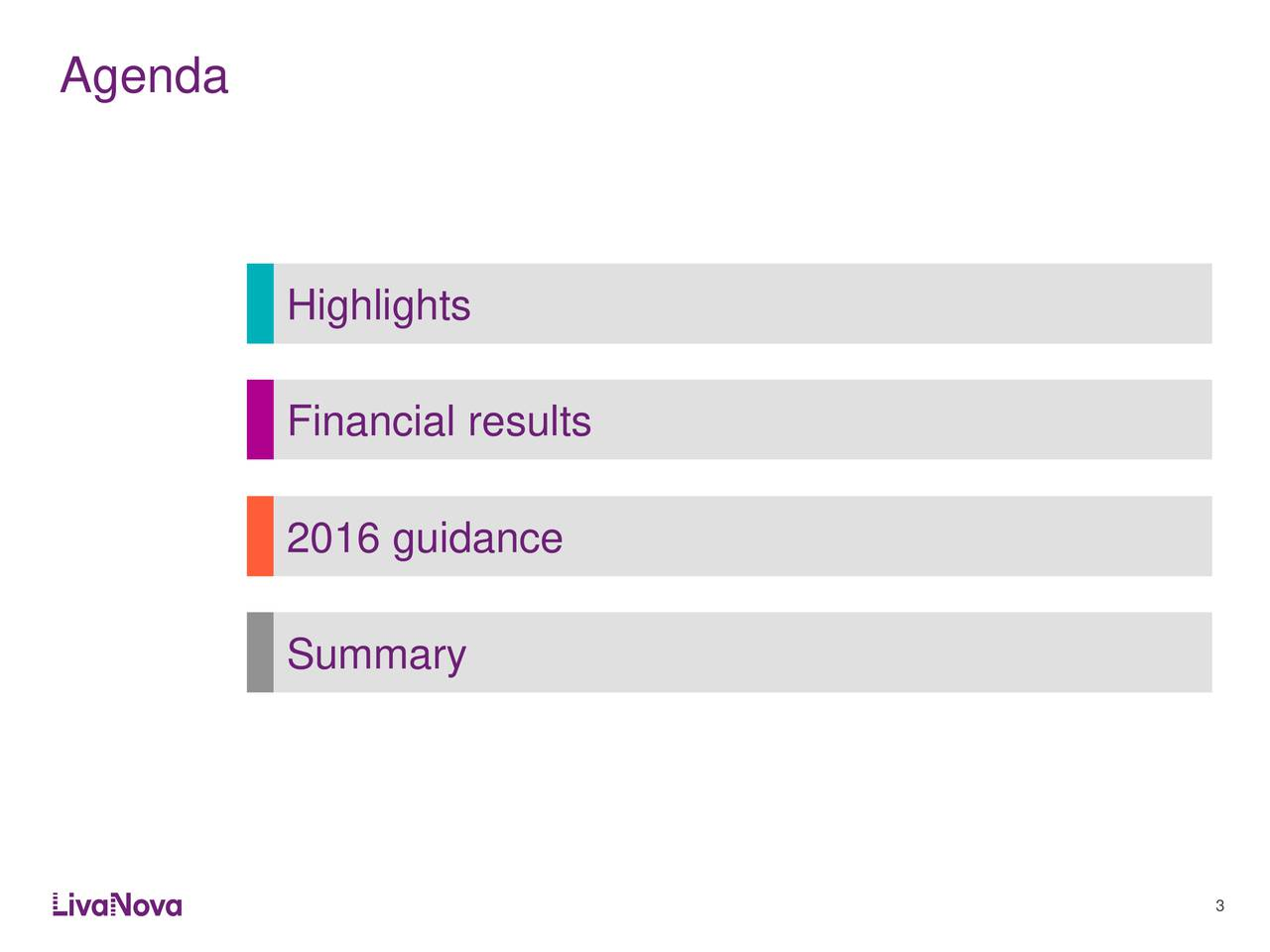 Highlights Financial results 2016 guidance Summary 3