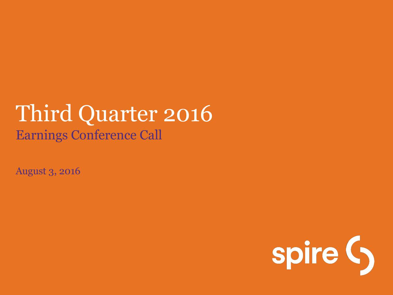 Earnings Conference Call August 3, 2016