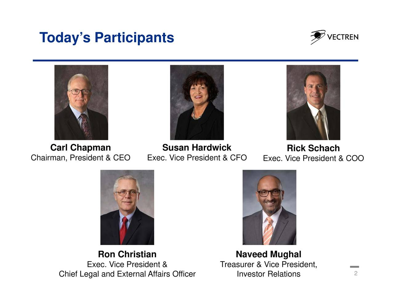 Rick Schach Exec. Vice President & COO Naveed Mughal Relations Treasurer & Vice President, Susan Hardwick Exec. Vice President & CFO Ron Christian Exec. Vice President & Chief Legal and External Affairs Officer Carl Chapman Todays Participants Chairman, President & CEO